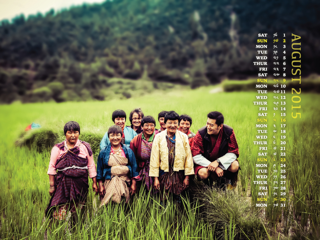 His Majesty The King with the farmers of Paro Wochu - Calendar - August 2015
