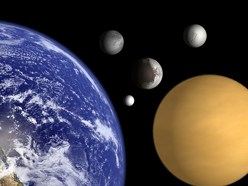 Earth and Saturns moons to scale.