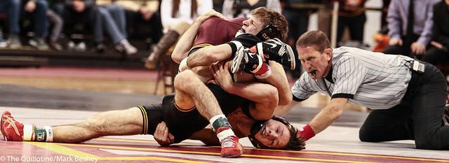 133: No. 4 Cory Clark (Iowa) dec No. 15 Mitch McKee (Minn), 10-3   Minn 8 – Iowa 27