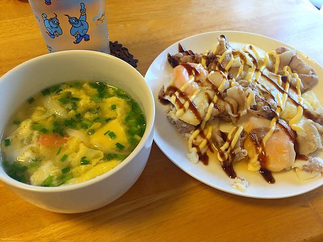 とん平焼きと卵スープ