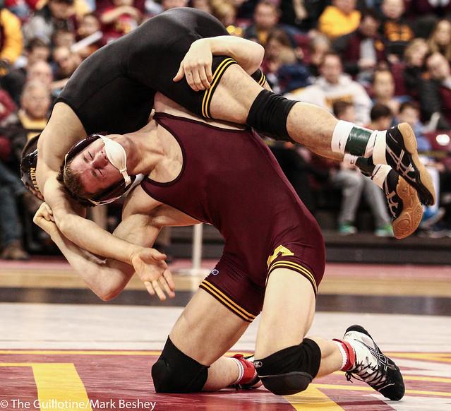 141: No. 13 Tommy Thorn (Minn) dec Topher Carton (Iowa), 3-2   Minn 11 – Iowa 27