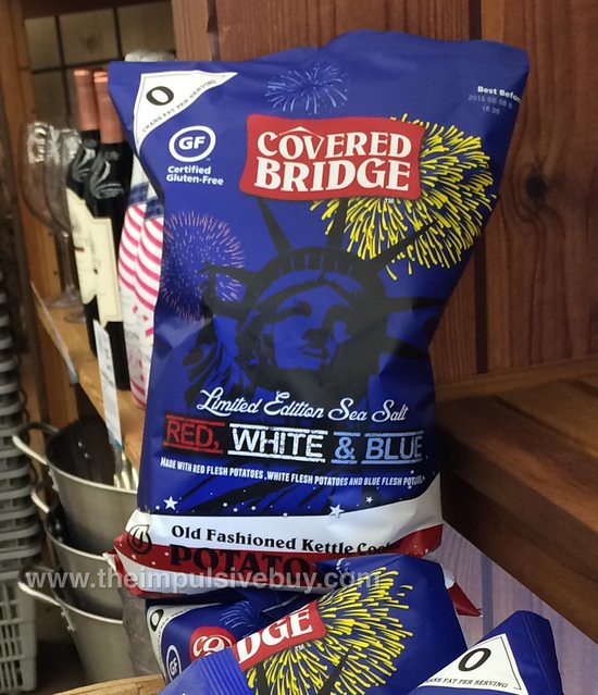 Covered Bridge Limited Edition Sea Salt Red, White & Blue Old Fashioned Kettle Cooked Potato Chips