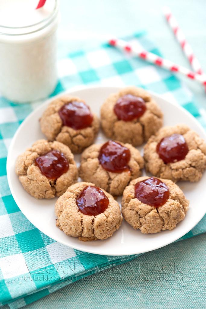 Almond Butter Jam Vegan Thumbprint cookies gluten-free