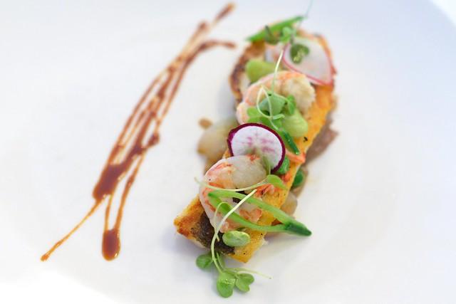 crispy branzino royal red shrimp, spring onion