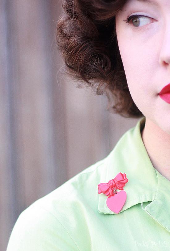 valentine brooch backside detail