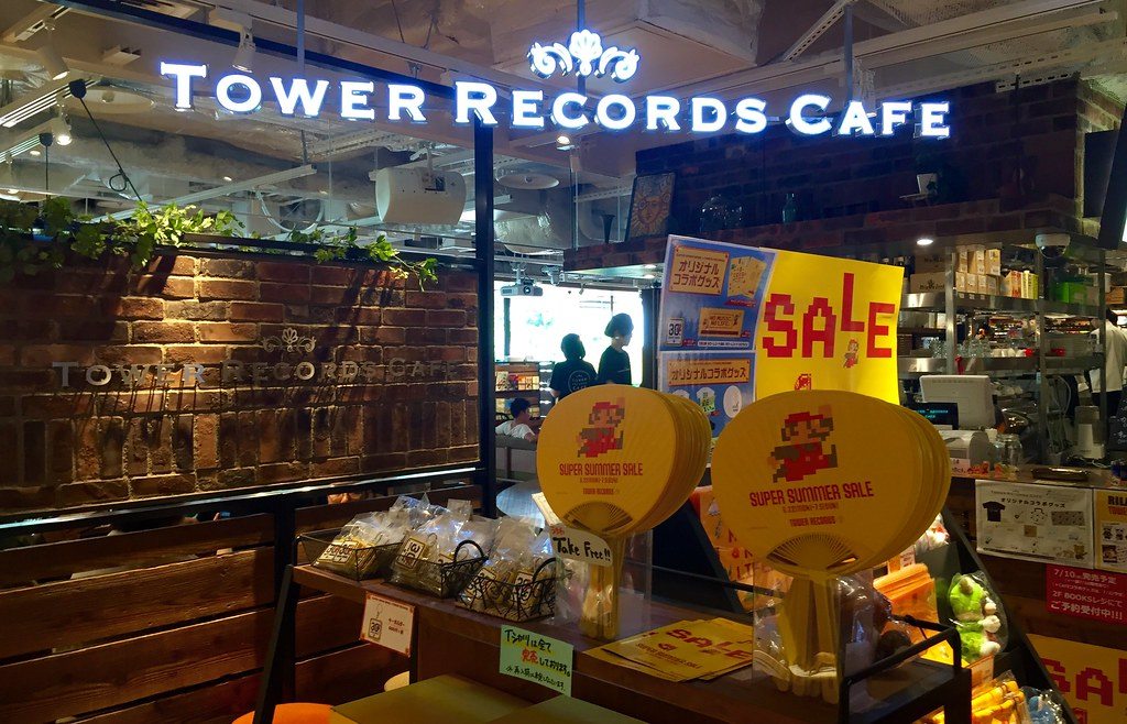 Super Mario themed cafe at Tower Records Shibuya. 30th anniversary of the ever popular Nintendo game!