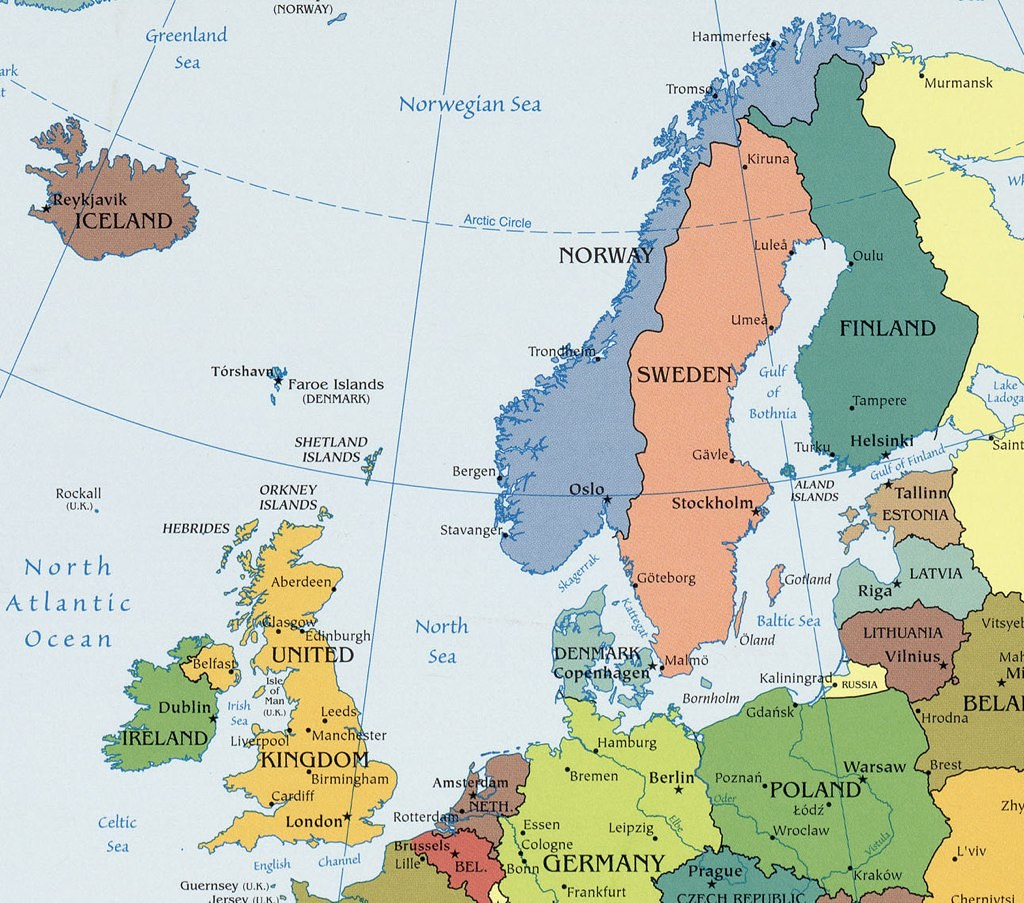 Map Of Northern Europe Undated