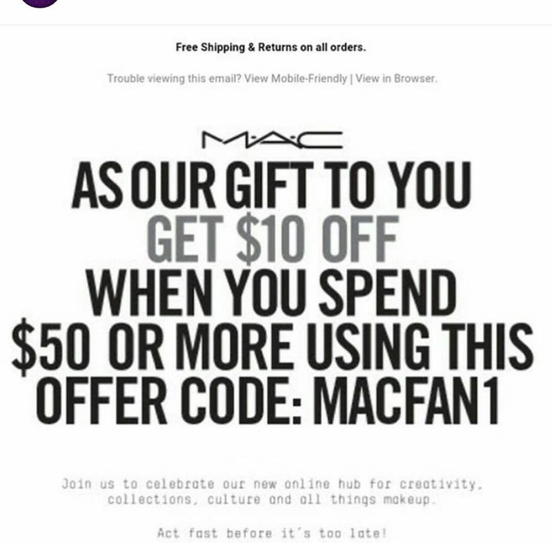 $10 off MAC Cosmetics, free shipping and samples! ⋆ Kizzy