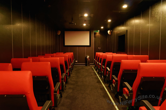 Stena Mersey - Inside the onboard cinema, looking from the rear towards the projector screen.  © Steven Tarbox