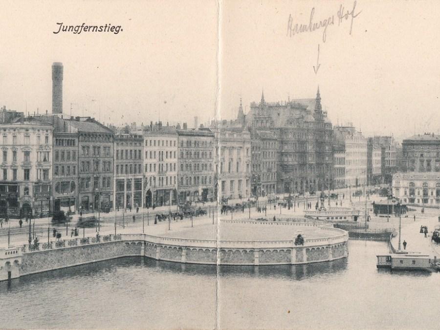 Straatnamen in Hamburg | Ansichtkaart Jungfernstieg