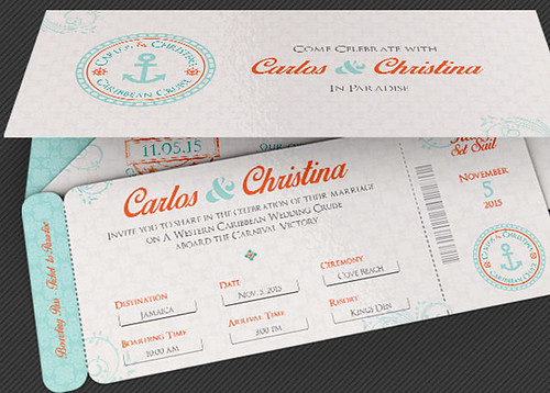Wedding Cruise Boarding Pass Invitation Template