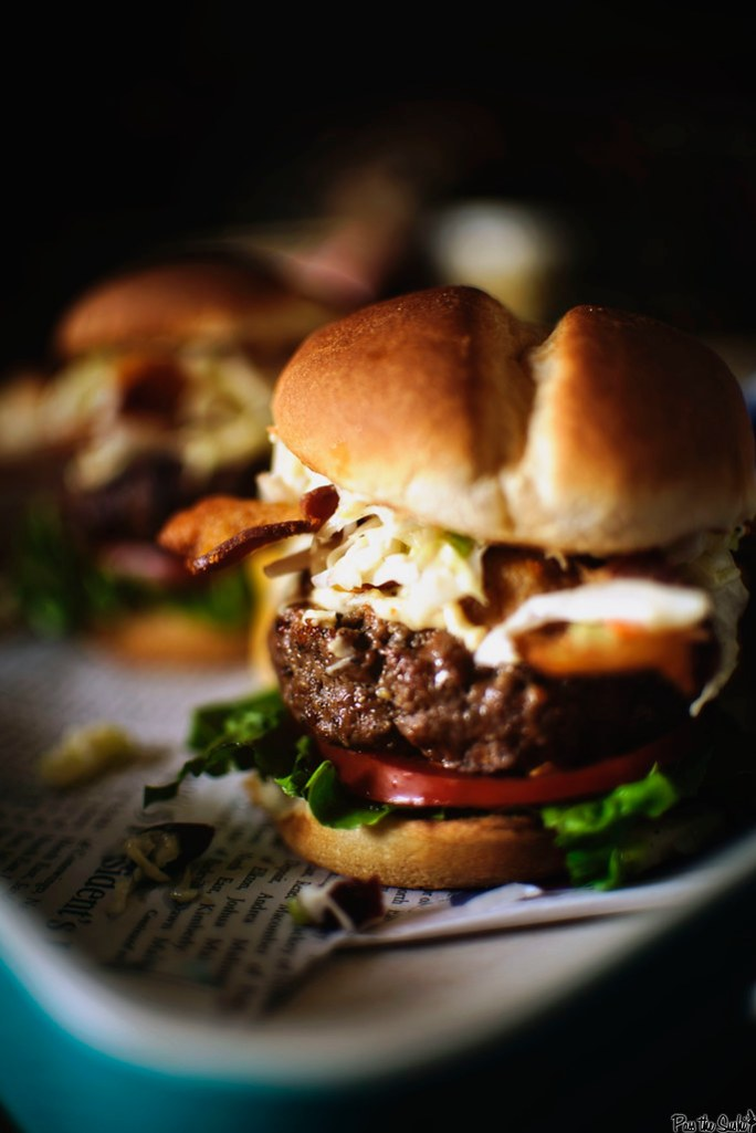 Cheddar Stuffed Apple Slaw Burgers {Foodie with Family}