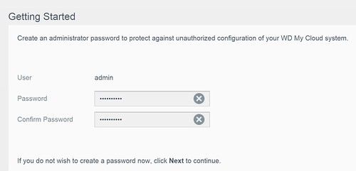 WD My Cloud EX2100 - Set Admin Password