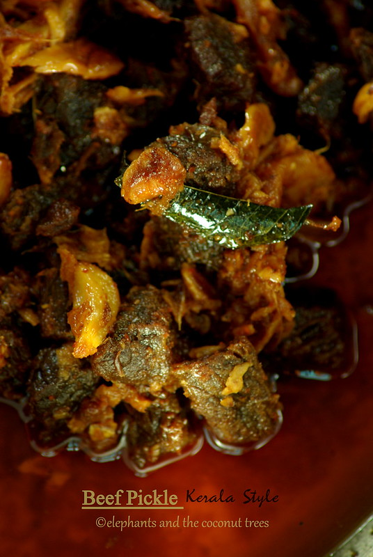 Beef pickled Kerala style , Beef achar