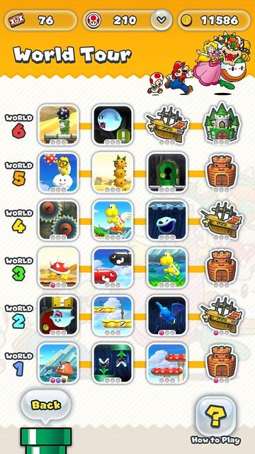 เกม Super Mario Run แบ่งเป็น 6 Worlds แต่ละ World มี 4 ด่านตามมาตรฐาน