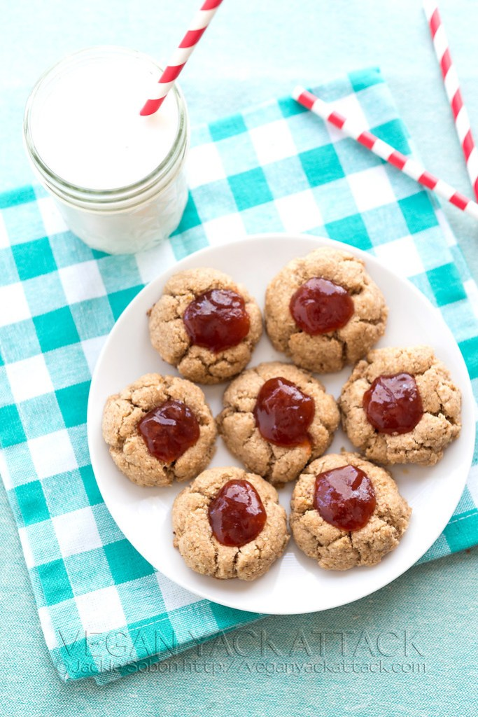 Vegan Gluten Free ALmond butter thumbprint cookies