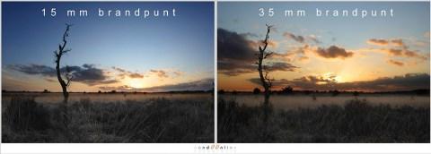 Hetzelfde landschap met een fisheye en een standaard brandpuntsafstand levert twee totaal verschillende beelden op, maar het onderwerp, de boom, is even groot in beeld gebracht.