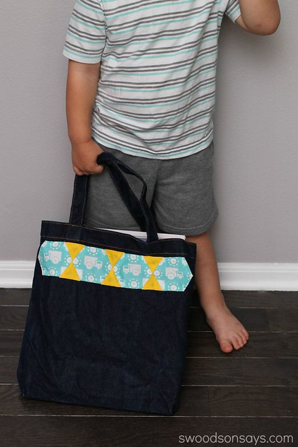 little boy library tote bag
