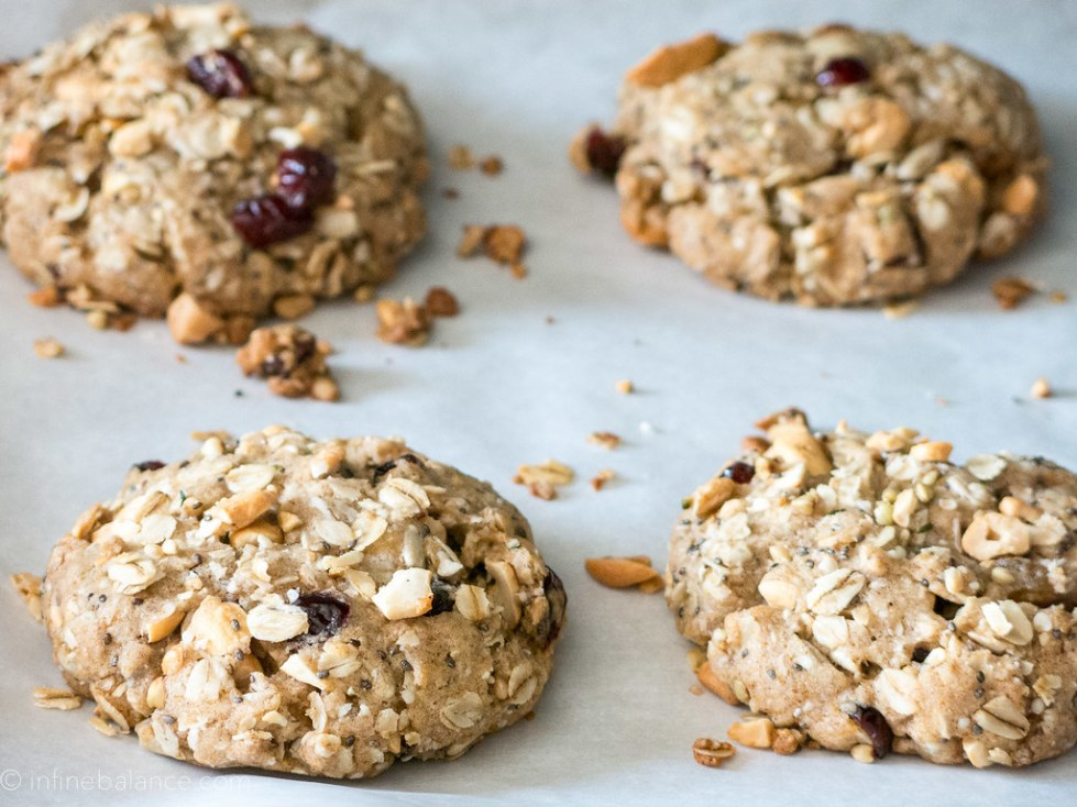 cashew and cranberry big breakfast cookies on a baking try