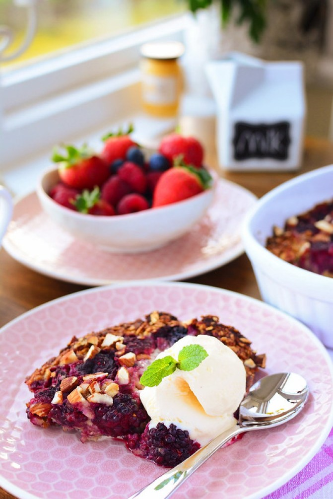 Baked Summer Fruit Oatmeal with Ice Cream and Mint