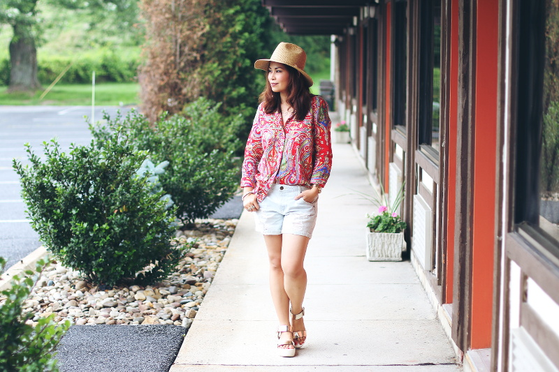 Paisley-button-down-shirt-denim-cutoffs-outfit-1