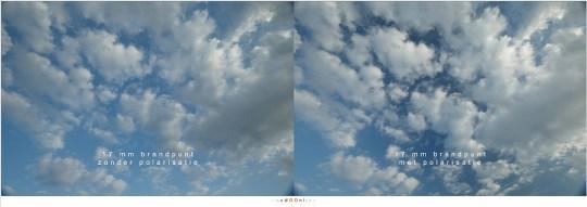 Bij 17mm levert de beeldhoek geen egale polarisatie van de foto op.