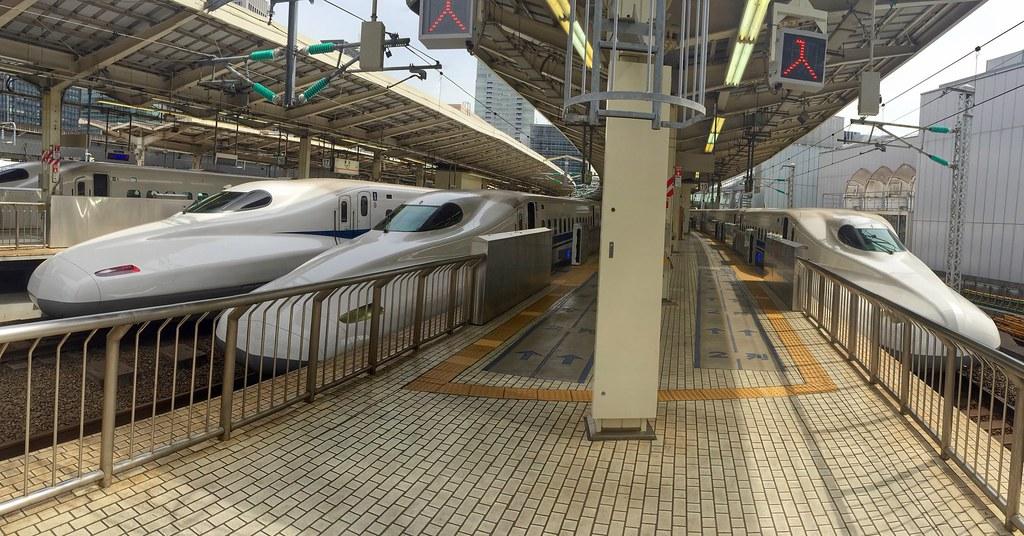 Shinkansen, bullet trains waiting at Tokyo Station
