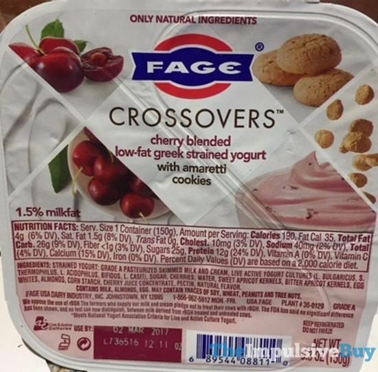 Fage Crossovers Cherry Greek Yogurt with Amaretti Cookies