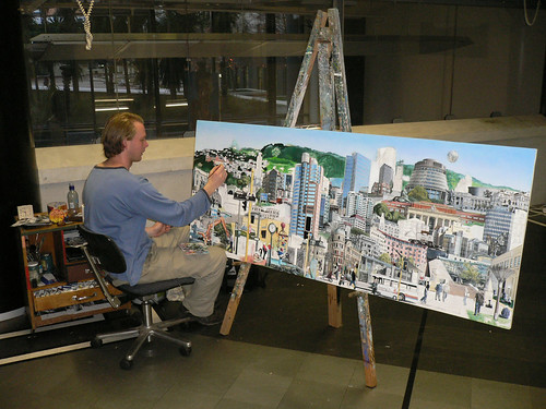 me painting in wellington central library by The Viscount of Jive