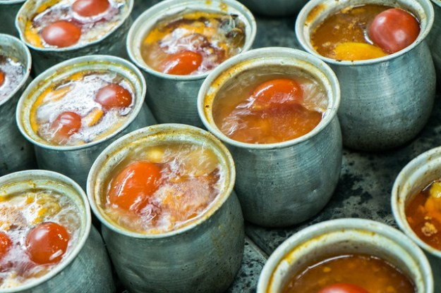 Pots of dizi (slow-cooked meat and potato stew) in Tabriz, Iran.