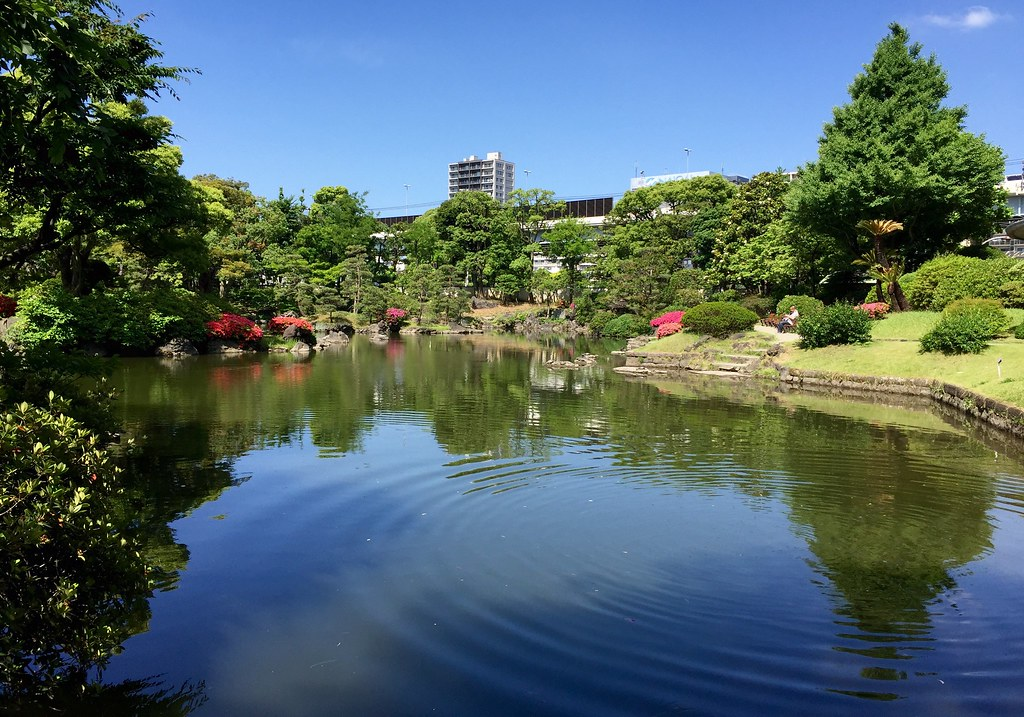 Water ripples at the old Yasuda Garden pond