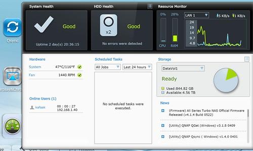แสดงข้อมูลฮาร์ดดิสก์ใน QNAP TS-253 Pro