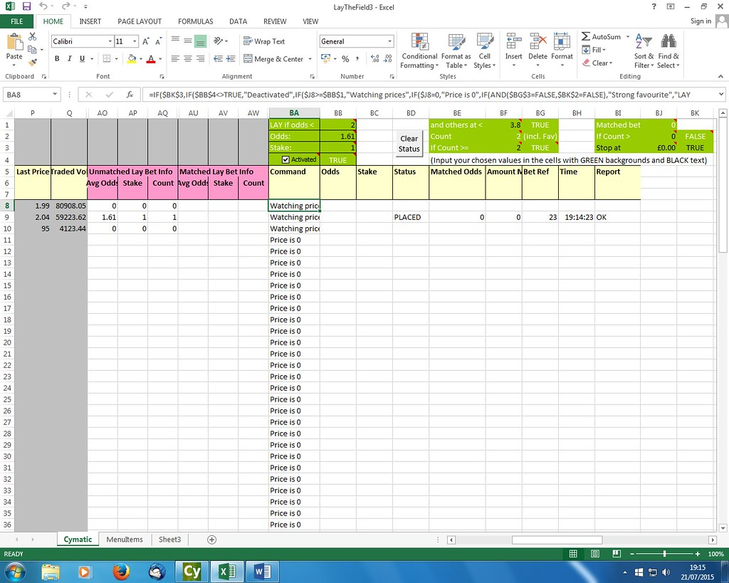Cymatic Trader Community Lay The Field Spreadsheet Excel