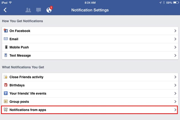 how to turn off app notifications on Facebook