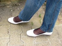 White Leather Tamaris Ballet Flats Nylons And Jeans