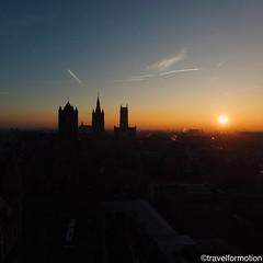 That #freezing #sundaymorning #moment #sunrise 22/01/17 #gent #ghent #visitgent #ghentcity #guardiancities #guardiantravelsnaps #aerialphotography #belgium #three #towers #historic #city #centre #igbelgium #wanderlust #travel #travelgram #winter #sun #blu