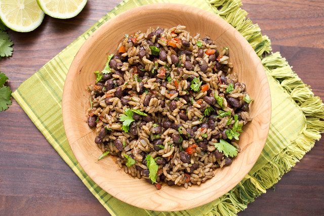 gallo pinto in wooden bowl
