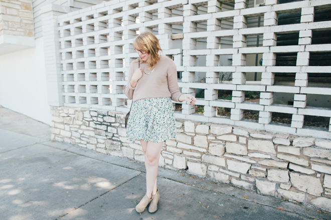 oatmeal sweater floral skirt2