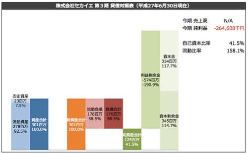 株式会社セカイエ 第3期 貸借対照表(平成27年6月30日現在)