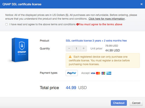 สมัคร SSL Certificate ได้จาก myQNAPcloud.com เลย