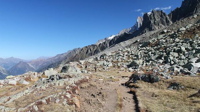 rock boulders at the base of Aiguilles de Chamonix.