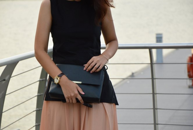 vintage mechanical watch, minimal black bag, H&M