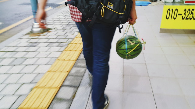 walking home with a korean watermelon