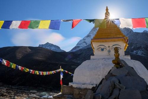 Stupa glow. Dingboche