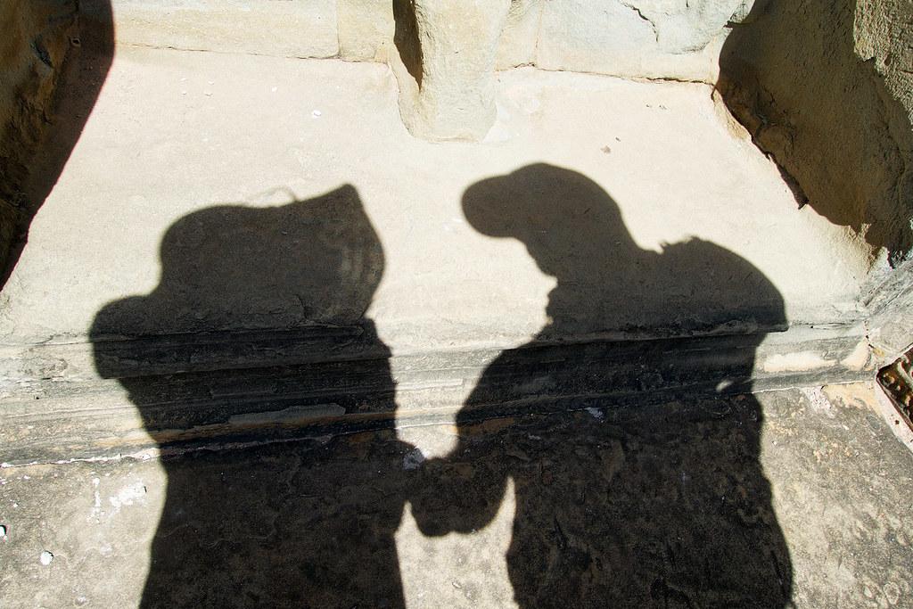 """""""Love Shadow"""" at Angkor Wat."""