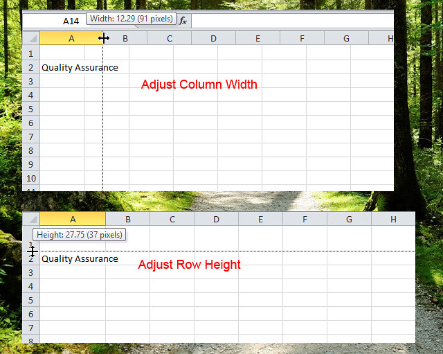 Adjust Column Width and Row Height