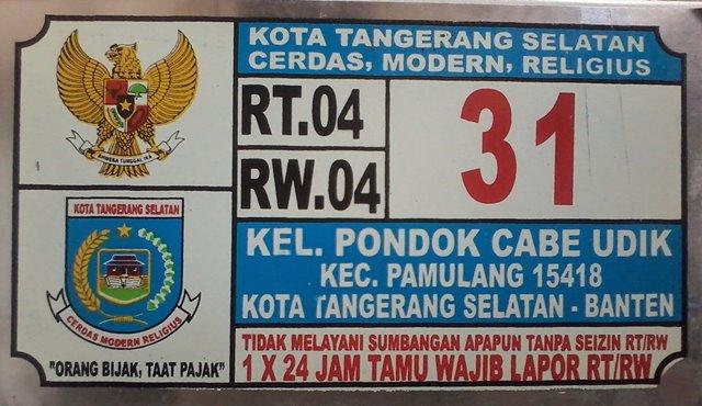 Plat Nomor Rumah Pondok Cabe Pamulang