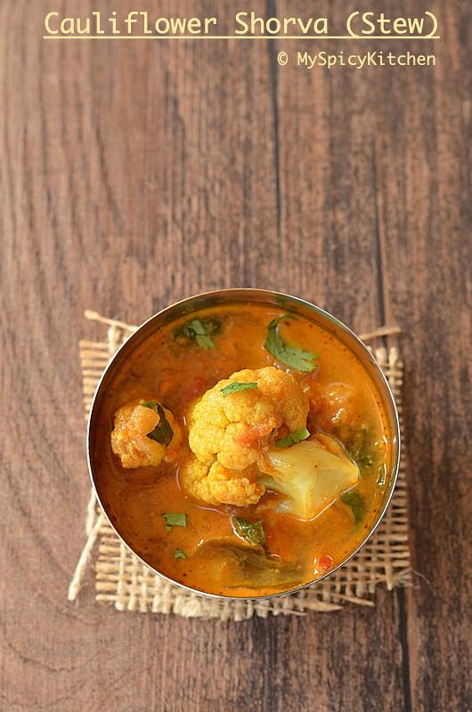 Blogging Marathon, Buffet On Table, Curry, Cauliflower curry, gobi shorva, gobi curry,