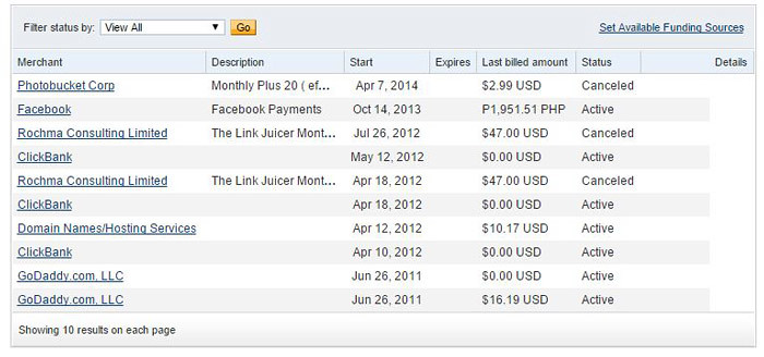 How to cancel PayPal recurring Payments step 4