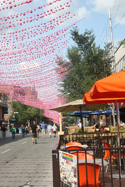 Montreal city break with kids: rue Saint Catherine and its distinctive decorations and coffee shops